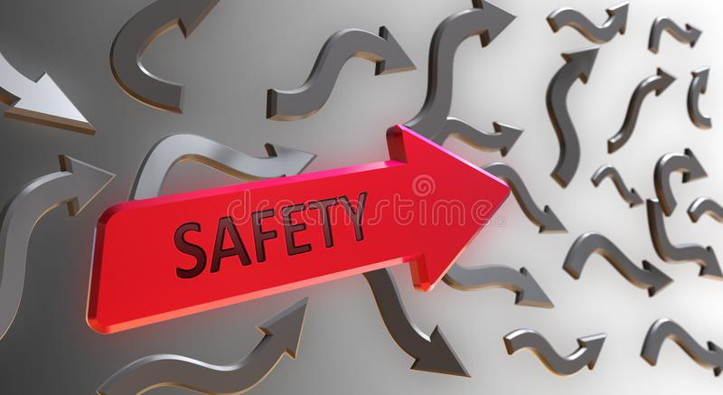 Safety Word On red Arrow vector illustration