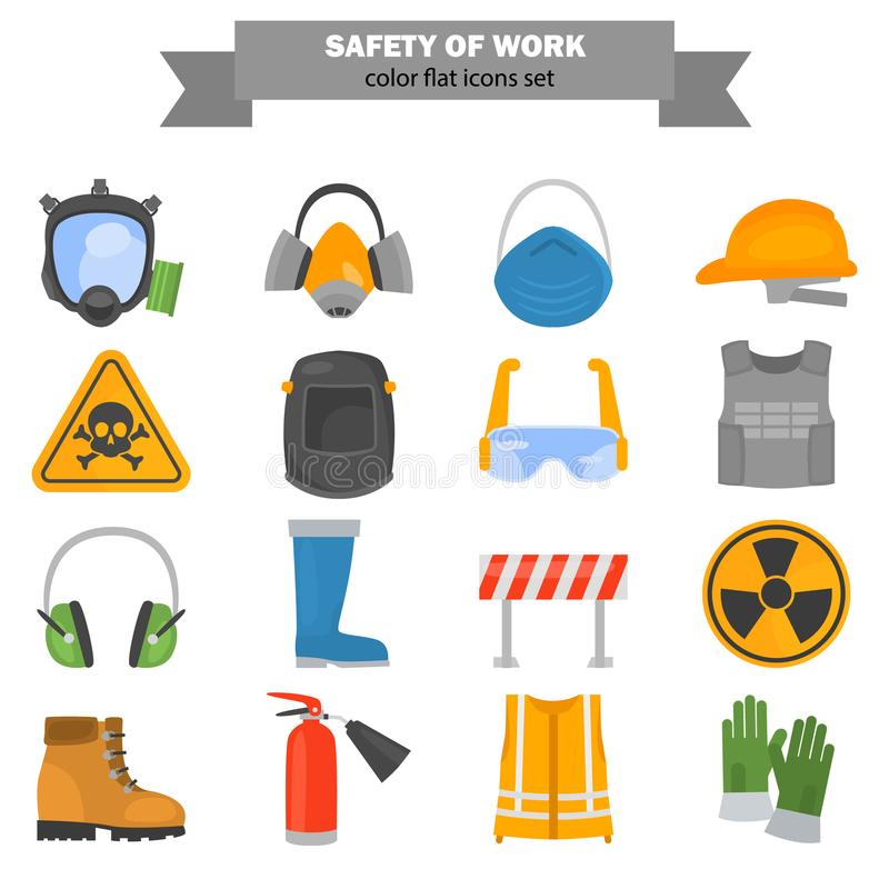 Safety work color flat icons set for web and mobile design vector illustration
