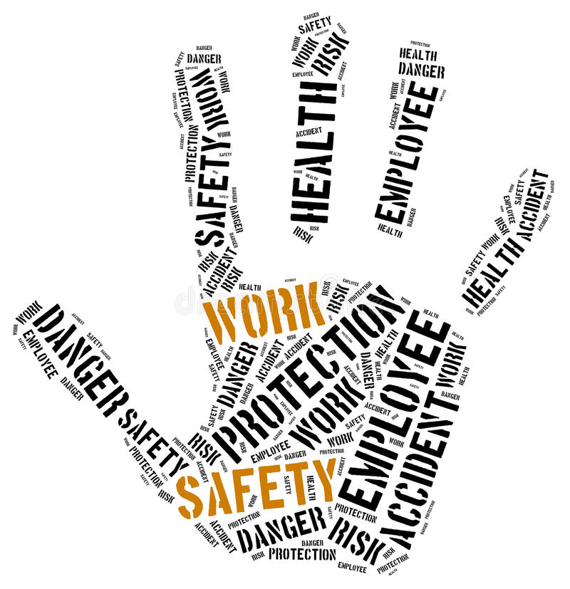 Safety at work concept. Word cloud illustration. vector illustration