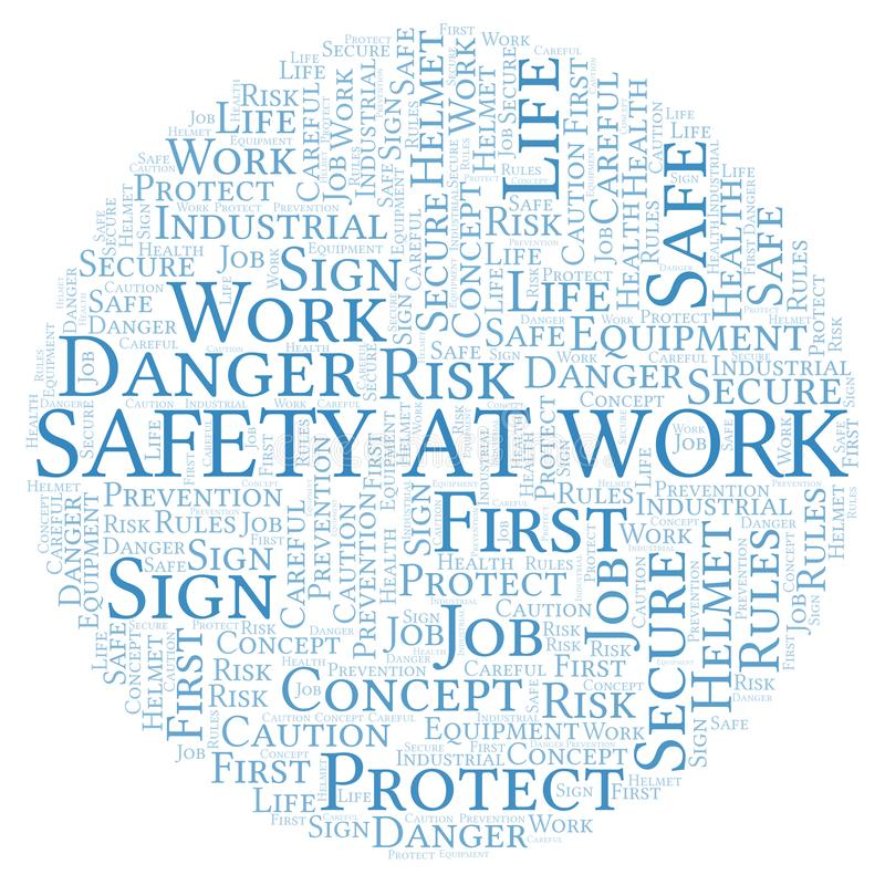 Safety At Work word cloud vector illustration
