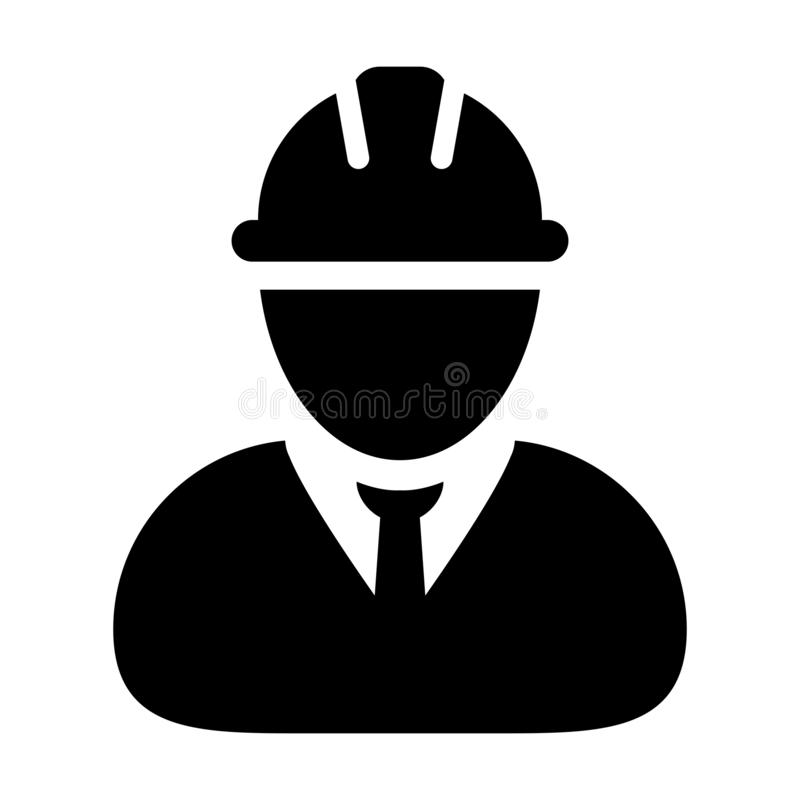Safety worker icon vector male construction service person profile avatar with hardhat helmet in glyph pictogram royalty free illustration
