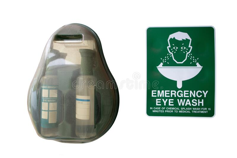 Emergency eyewash station located at dangerous chemical storage room royalty free stock photography
