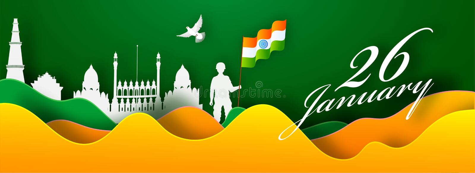 Saffron and Green Paper Cut Wave Background with India Famous Monuments, Pigeon and Silhouette Man holding Indian Flag. stock illustration