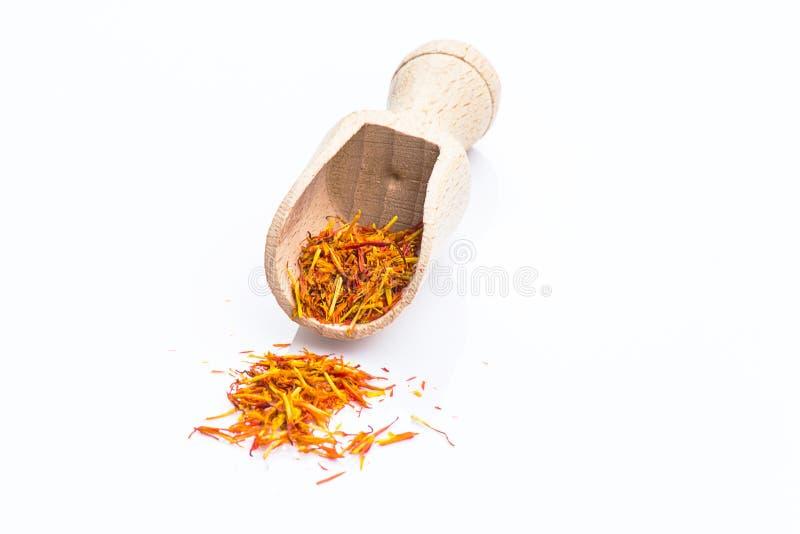 Saffron. On isolate white background royalty free stock photo