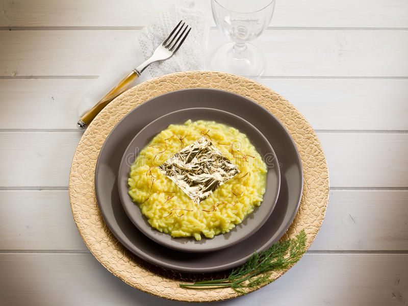 Saffron Risotto With Gold Leaf Royalty Free Stock Image