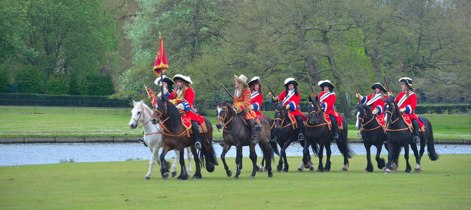 The Kings Lifeguard of horse Regiment reenactment group. SAFFRON WALDEN, ESSEX, ENGLAND - MAY 01, 2017: The Kings Lifeguard of horse Regiment reenactment group royalty free stock photography