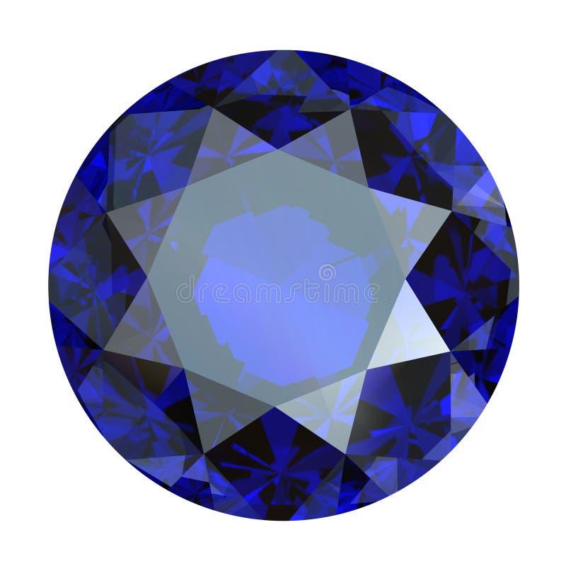 Safira azul redonda ilustração do vetor