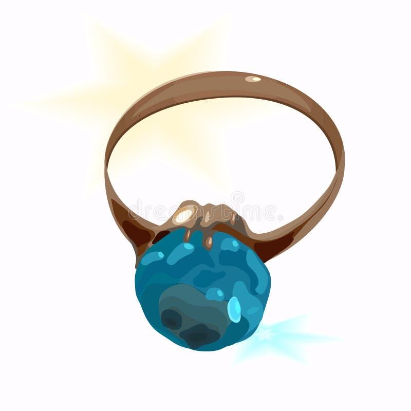 Safira grande luxuosa do anel de ouro ilustração royalty free