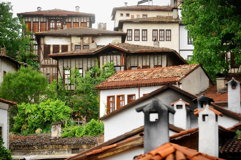 Safranbolu ottoman old houses. Architecture detail with ottoman traditional houses in turkish historical city of Safranbolu royalty free stock photography