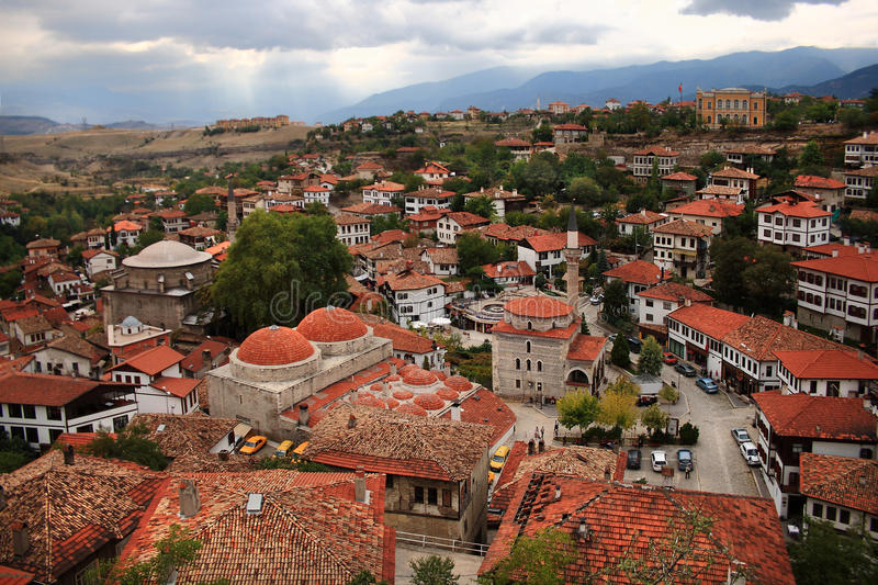 Safranbolu, Turkey. Safranbolu is a town and district of Karabük Province in the Black Sea region of Turkey. The Old Town preserves many old buildings, with stock photography