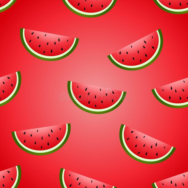 Saftig bakgrund för sömlös för vattenmelonhand för vektor rolig efterföljd för teckning royaltyfri illustrationer