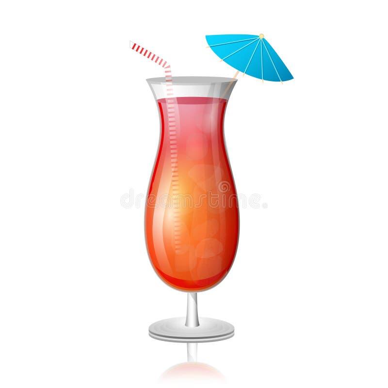 Saftig coctail för tequilasoluppgångdrink i ett högväxt exponeringsglas med vektor illustrationer