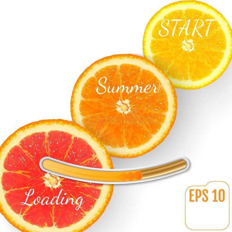 Saftig fruktapelsin Sommarpäfyllningsstång, vit bakgrund stock illustrationer