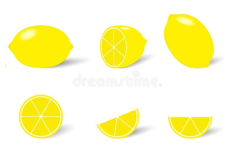 Saftig mogen gul citronvektorbild, helhet och skivor stock illustrationer