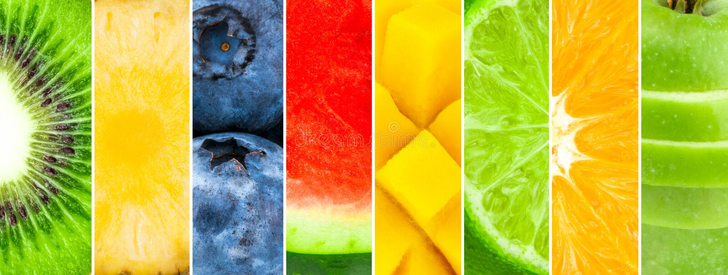Saftig och ny frukt Blandat av vattenmelon, ananas, kiwi, blåbär, mango, limefrukt, apelsin, äpple vektor illustrationer
