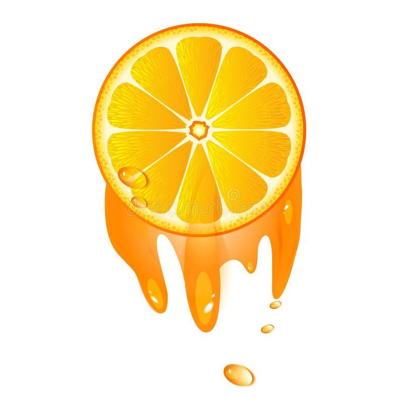 Saftig skiva av orange frukt royaltyfri illustrationer