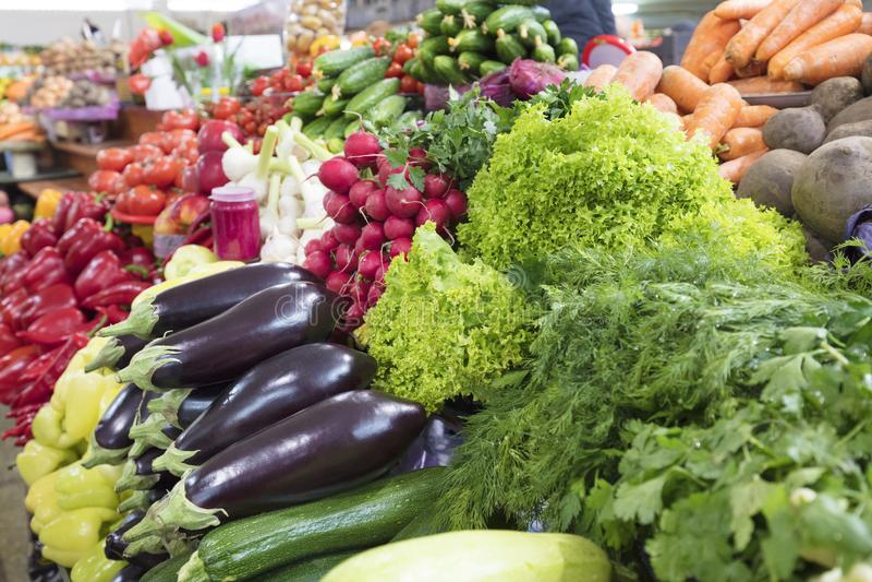 Saftiga gräsplaner av grönsallat, dill, persilja och aubergine, rädisa, zucchinilögn på den till salu marknadsräknaren arkivfoton