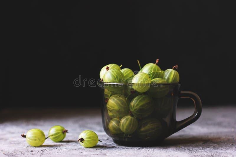 Saftiga gröna krusbär i en svart exponeringsglaskopp royaltyfria foton