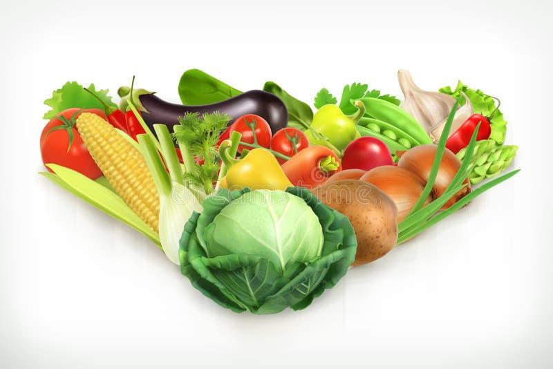 Saftiga och mogna grönsaker för skörd vektor illustrationer