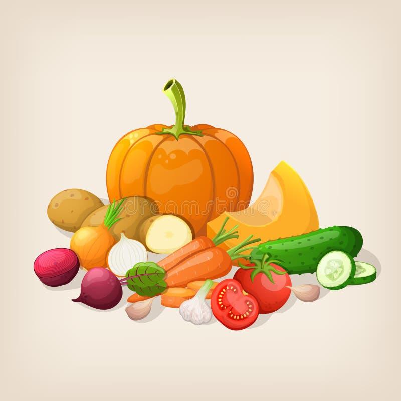 Saftiga och mogna grönsaker för skörd royaltyfri illustrationer