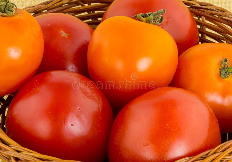 Saftiga röda tomater i bakgrund för närbild för vide- korg en naturlig Grönsakmodell av byn royaltyfri fotografi