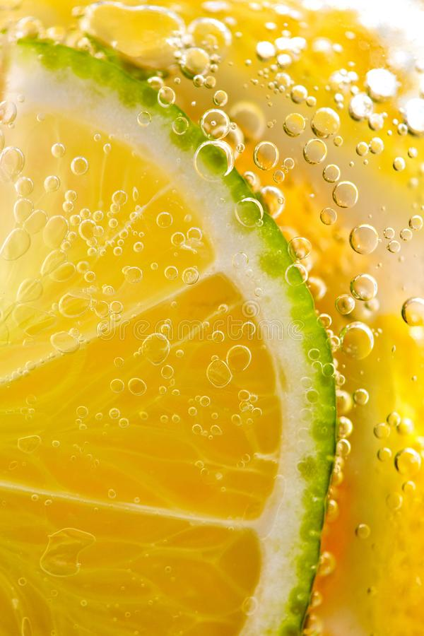 Saftiga skivor av den mogna citronen och limefrukt med bubblor i ett exponeringsglas av vatten Makrofoto av f?rnyande lemonad arkivbild