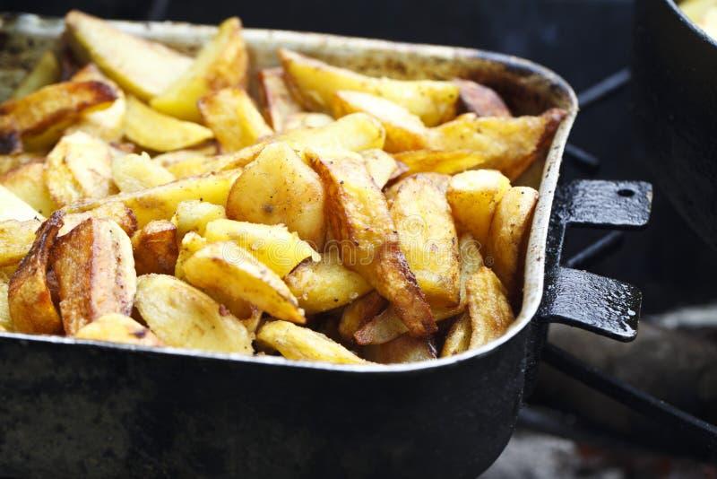 Saftiga stekte potatisar royaltyfria foton