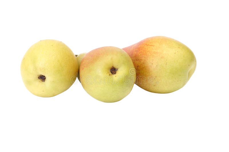 Saftige, geschmackvolle Birnen auf einem Weiß. lizenzfreies stockfoto