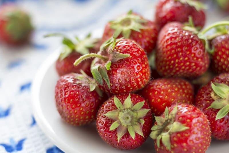 Saftige reife Erdbeere auf einer weißen Platte stockfotografie