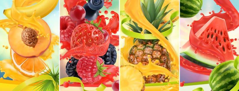Saftige und frische Frucht Pfirsich, Erdbeere, Himbeere, Ananas, Wassermelone Juice Splash realistischer Satz des Vektors 3d stock abbildung