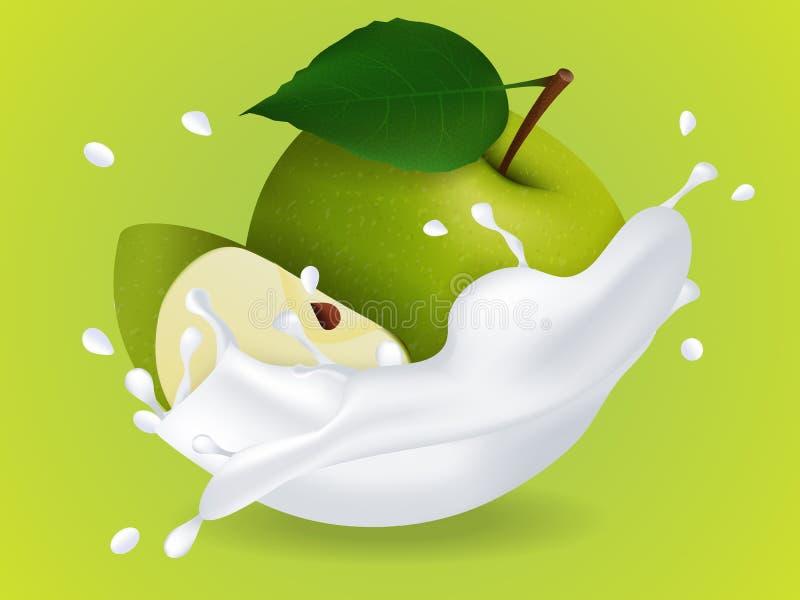 Saftiger süßer Apfel im Milchspritzen Milchshake mit Apfel stock abbildung