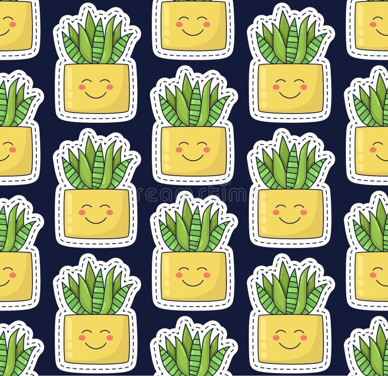 Saftiges nettes nahtloses Vektormuster der Aloe lizenzfreie abbildung