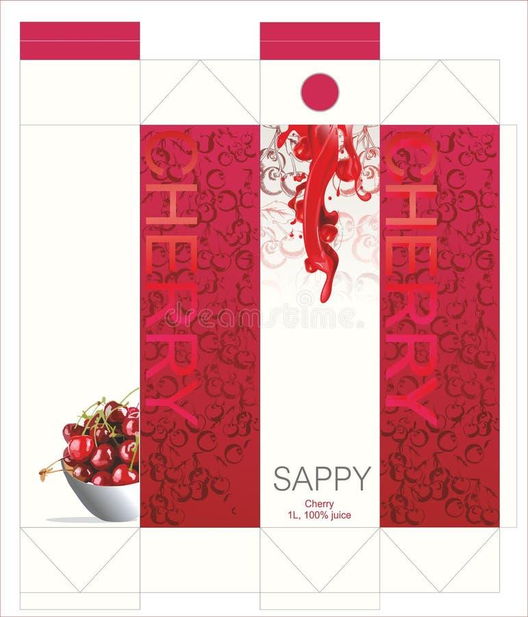 Saftigt och läckert förpacka för körsbärsröd fruktsaft! vektor illustrationer
