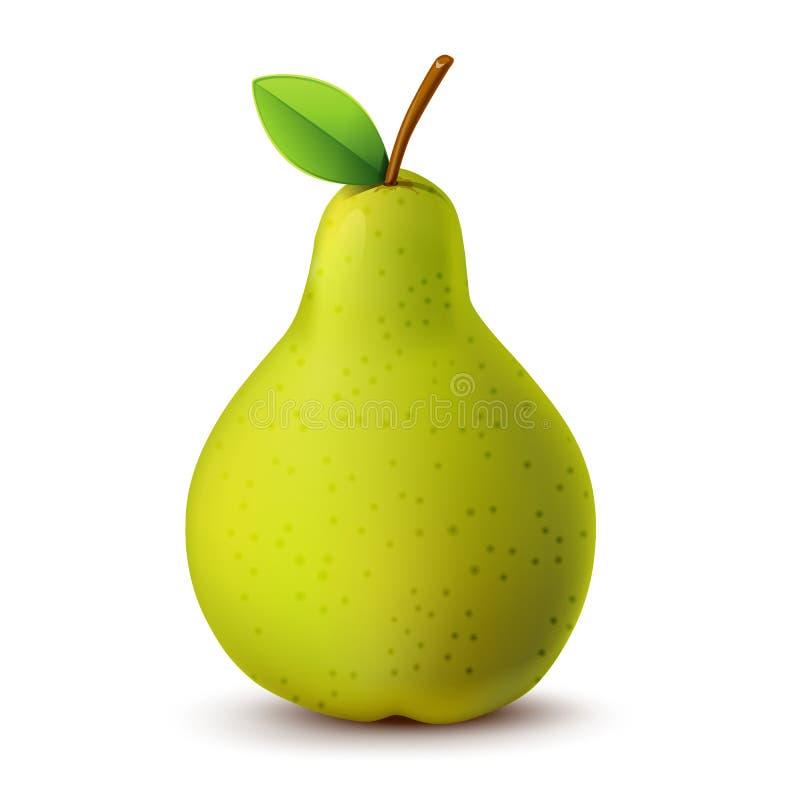Saftigt päron på vit vektor illustrationer