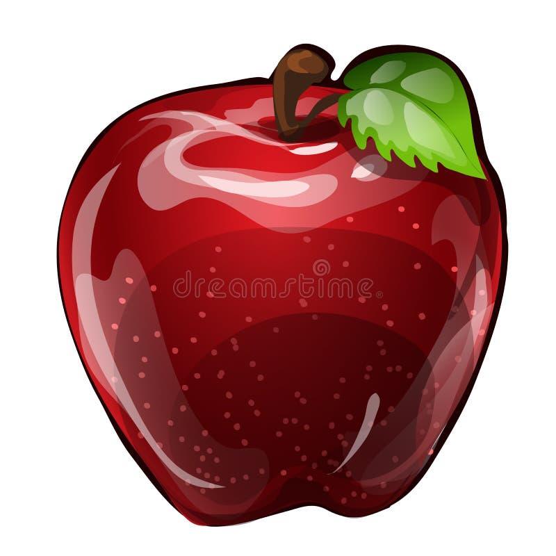 Saftigt rött äpple som isoleras på en vit bakgrund Beståndsdelen av ett sunt bantar Illustration för vektornärbildtecknad film stock illustrationer
