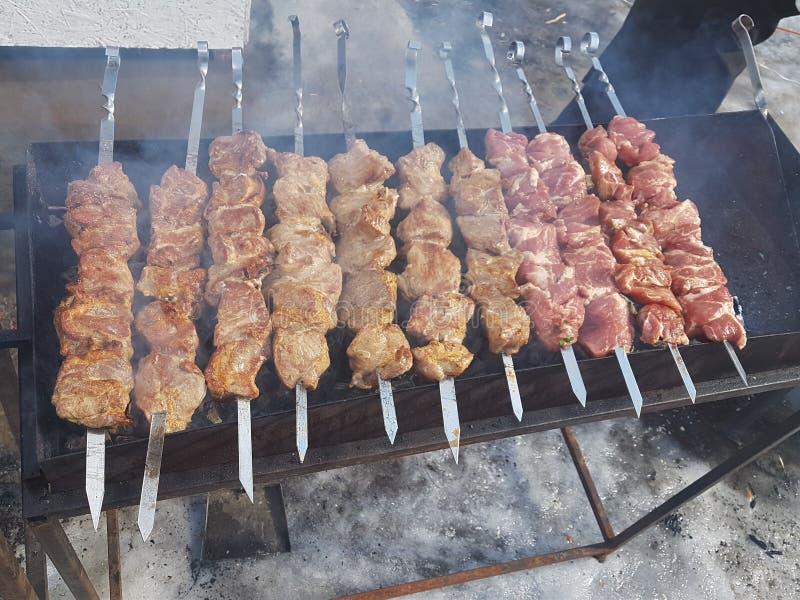 Saftigt som marineras i kryddaköttkebab på steknålar, lagas mat och stekas på ett brand- och kolgrillfestgaller, i naturen av snö royaltyfri bild