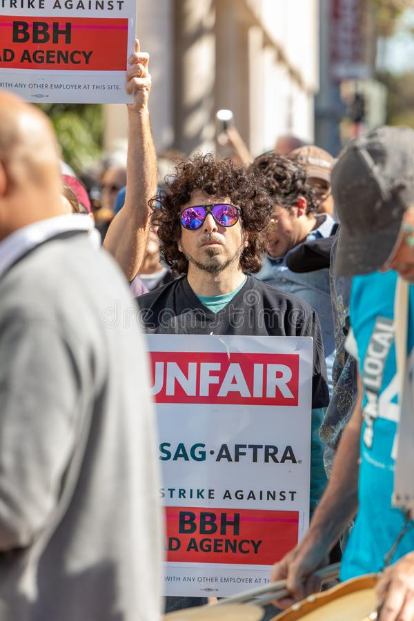 SAG AFTRA Rally against BBH. LOS ANGELES, CA - JANUARY 23, 2019: Hundreds of SAG actors marched today against Bartle Bogle Hegarty BBH ad agency, after it royalty free stock photography