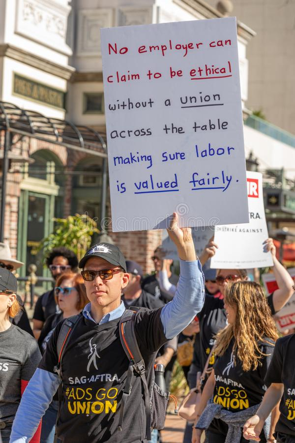 SAG AFTRA Rally against BBH. LOS ANGELES, CA - JANUARY 23, 2019: Hundreds of SAG actors marched today against Bartle Bogle Hegarty BBH ad agency, after it royalty free stock images