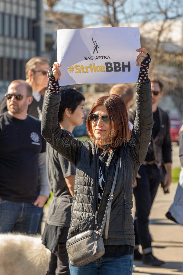 SAG AFTRA Rally against BBH. LOS ANGELES, CA - JANUARY 23, 2019: Hundreds of SAG actors marched today against Bartle Bogle Hegarty BBH ad agency, after it stock photo