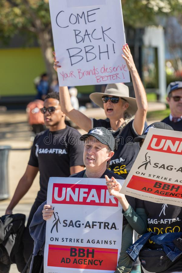 SAG AFTRA Rally against BBH. LOS ANGELES, CA - JANUARY 23, 2019: Hundreds of SAG actors marched today against Bartle Bogle Hegarty BBH ad agency, after it stock photography
