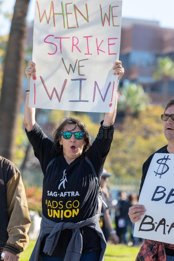 SAG AFTRA Rally against BBH. LOS ANGELES, CA - JANUARY 23, 2019: Hundreds of SAG actors marched today against Bartle Bogle Hegarty BBH ad agency, after it stock photos