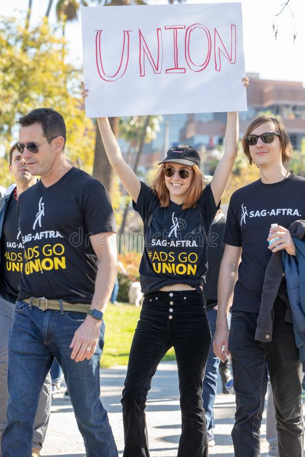 SAG AFTRA Rally against BBH. LOS ANGELES, CA - JANUARY 23, 2019: SAG actors marched today against Bartle Bogle Hegarty Inc. after it announced last Fall that it stock photography