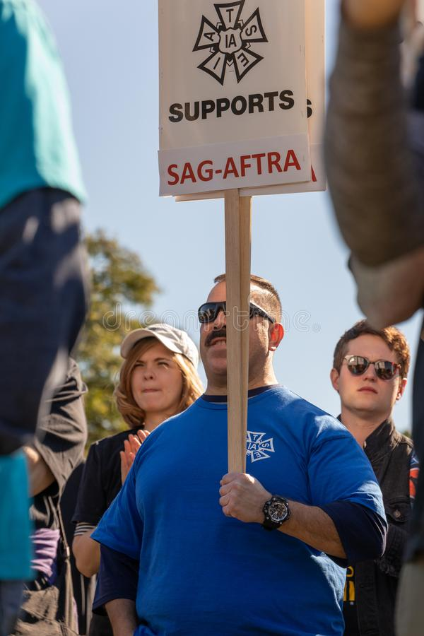 SAG AFTRA Rally against BBH. LOS ANGELES, CA - JANUARY 23, 2019: SAG actors marched today against Bartle Bogle Hegarty Inc. after it announced last Fall that it stock photos