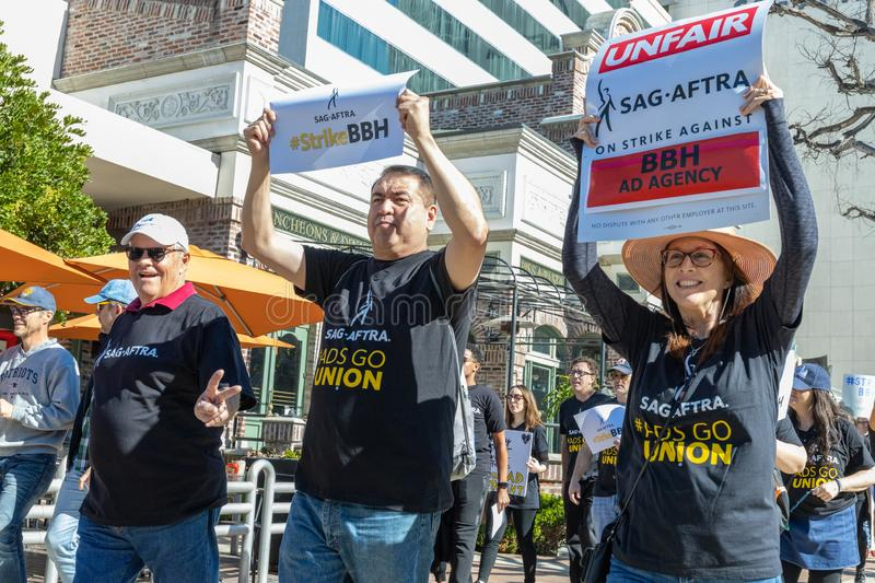 SAG AFTRA Rally against BBH. LOS ANGELES, CA - JANUARY 23, 2019: SAG actors marched today against Bartle Bogle Hegarty Inc. after it announced last Fall that it stock photo