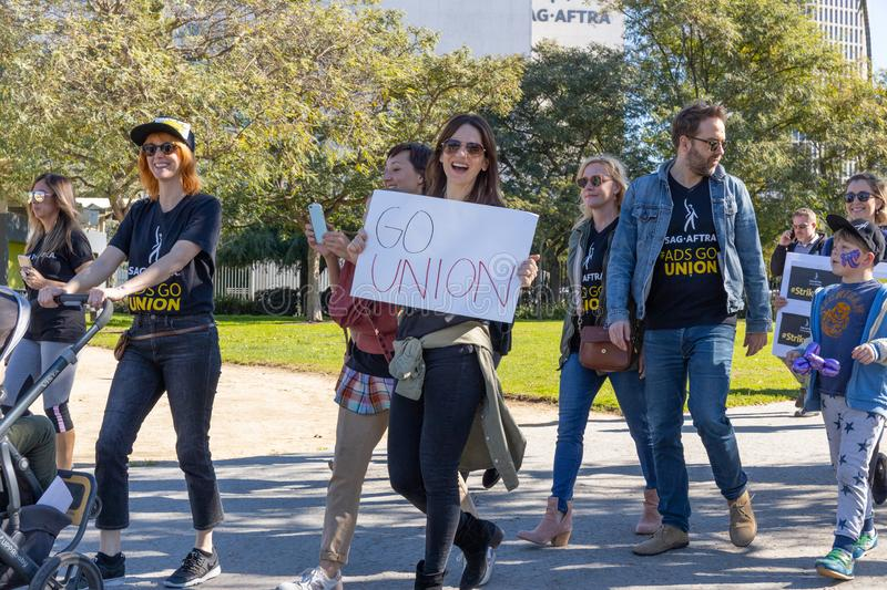 SAG AFTRA Rally against BBH. LOS ANGELES, CA - JANUARY 23, 2019: SAG actors marched today against Bartle Bogle Hegarty Inc. after it announced last Fall that it stock image