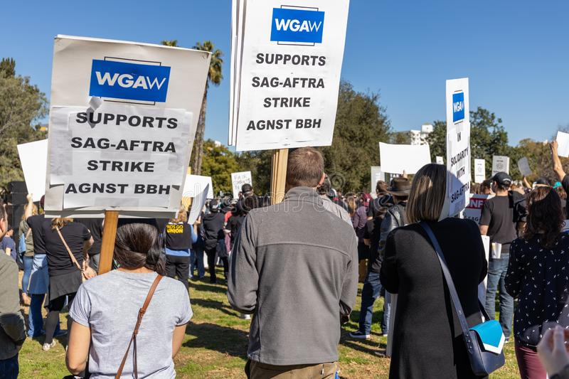 SAG AFTRA Rally against BBH. LOS ANGELES, CA - JANUARY 23, 2019: SAG actors marched today against Bartle Bogle Hegarty Inc. after it announced last Fall that it royalty free stock images