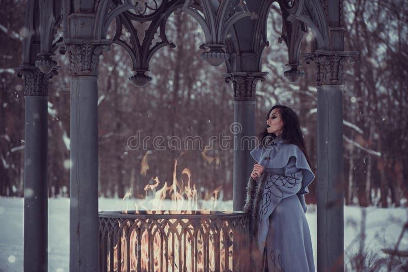 Saga av den unga kvinnan royaltyfria foton