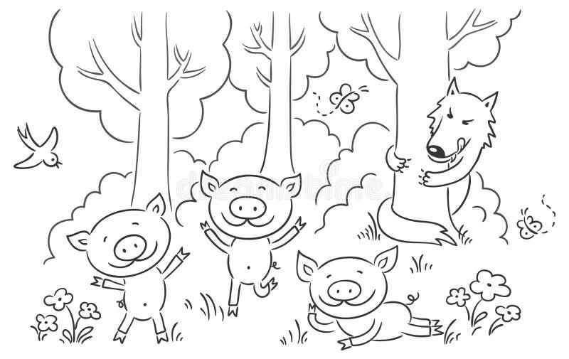 Saga för tre liten svin vektor illustrationer