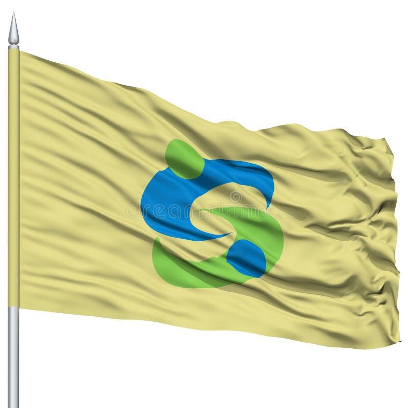 Saga-Hauptstadt-Flagge auf dem Fahnenmast, fliegend in den Wind, lokalisiert auf weißem Hintergrund vektor abbildung