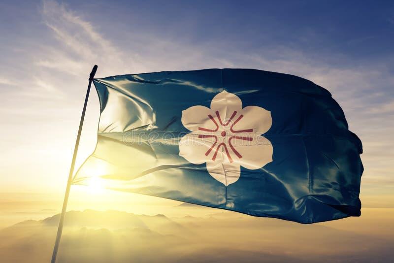 Saga-Präfektur des Japan-Flaggentextilstoffgewebes, das auf den Spitzensonnenaufgangnebelnebel wellenartig bewegt lizenzfreie abbildung